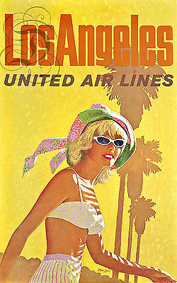 Repro Affiche Los Angeles United Airlines Avion Usa  Sur Papier 310 Ou 190 Grs