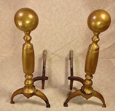 Antique Victorian Cannonball Brass Andirons Set with No Makers Mark
