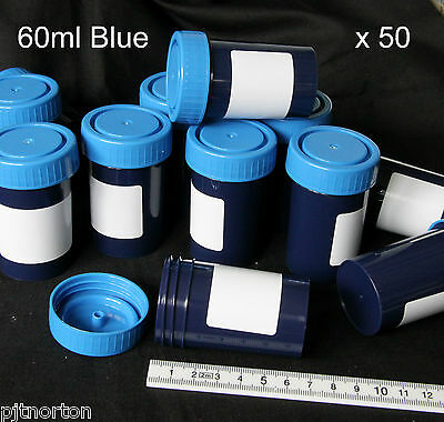 60ml Blue plastic specimen container screw cap  Box of 50 art craft pot opaque