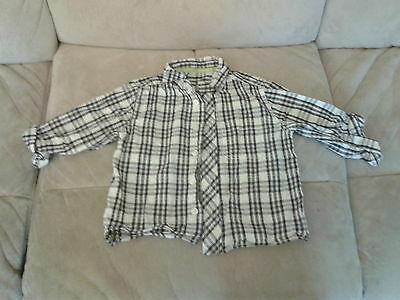 Baby Boys 18-23 Months - White & Black Checked Long/Rollup Sleeved Shirt