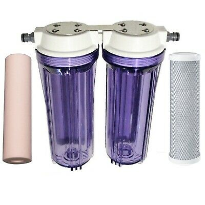 Clear Twin Caravan + Boat + Camping Water Filter + Hose Connector + 1uMa Filters
