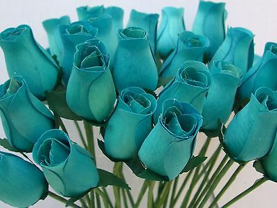 Wholesale Turquoise Duck Egg Blue Artificial Flowers Wooden Roses Bathroom Decor