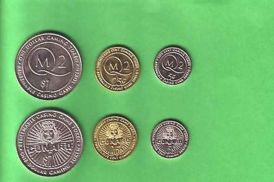 Cunard Casino Gaming Tokens Queen Mary 2 QM2 (3) $1-25¢-5¢Tokens Plus 1 Chip $1