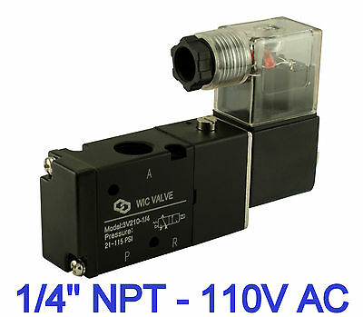 "1/4"" Inch Pneumatic 3 Way 2 Position Electric Solenoid Air Valve 1 Coil 110V AC"