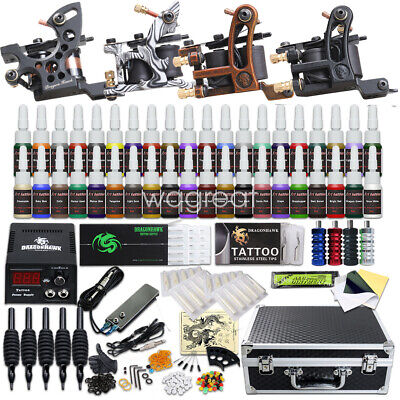 New Tattoo Kit 40 color Ink Grip Needles Power Supply Tip 4 Machine Gun D23WD-10