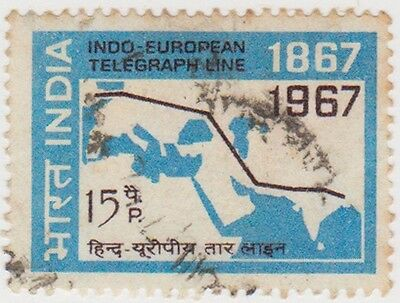 (IB59) 1967 INDIA 15p black & blue Route map ow511