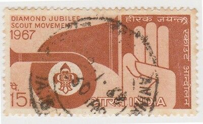 (IB68)1967 INDIA 15p 60th anni of scouts movement ow558