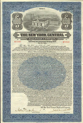 1921 New York Central Railroad   $1,000 bond certificate stock share