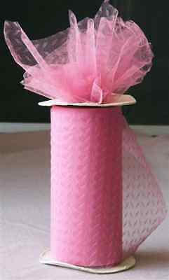 "Bridal NEW 75' Roll D ROSE /Chevron TULLE 6"" $17.00 Retail"