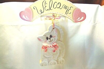 White Kitty Handpainted Wooden - Hanging Welcome Sign Great 4 Doorway/guest Room