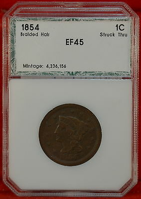 1854 Braided Hair Large Cent EF Details