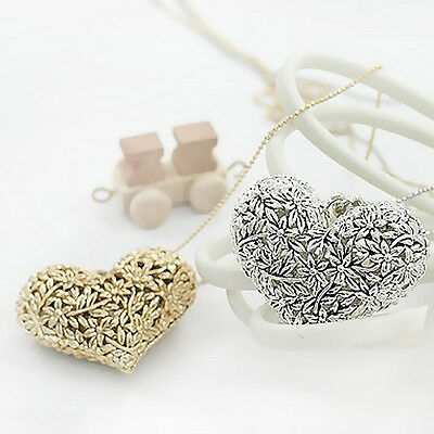 Retro Vintage Lady Girl Hollow Out Leaf Heart Necklace Long Chain Heart Pendant