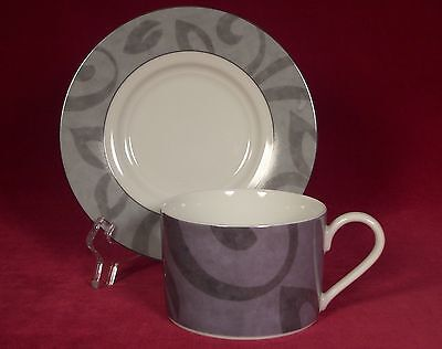 Nikko Fine China Madison Patra Cup and Saucer Set (s) Gray Rim Black Thailand