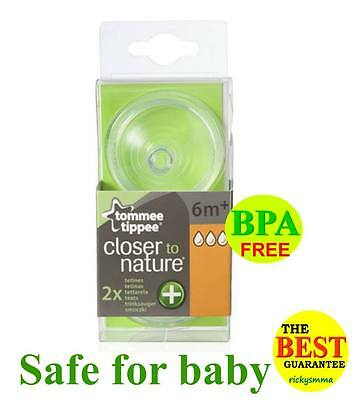 Tommee Tippee Closer To Nature Bottle Nipples Teat Anti Colic Plus 6m+ x 2 teats