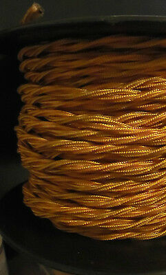Gold Twisted Rayon Covered Wire Antique Vintage Style Cloth Lamp Lights Cord