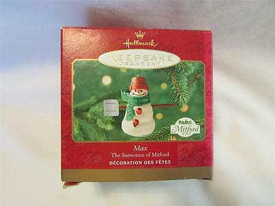 2000 Hallmark Max The Snowmen of Mitford Christmas Ornament IOB T35