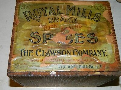 Antique Royal Mills Spices Philadelphia Wood Box Early Paper Label Advertising
