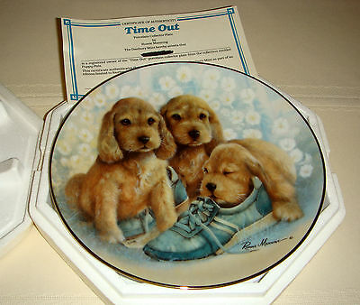 RUANE MANNING Puppy Pals Adorable Cocker Spaniels & Tennis Shoes TIME OUT Plate