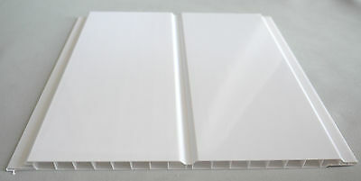 8 Gloss White Twin Wet Wall Panels PVC Ceiling Kitchen Cladding Bathroom Shower