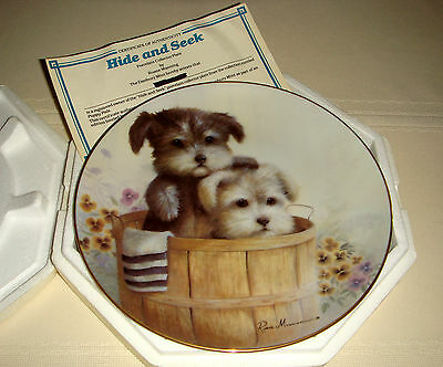 RUANE MANNING Puppy Pals Adorable Terriers Basket & Flowers HIDE AND SEEK Plate