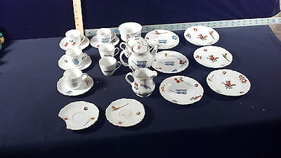 Vintage Early Rare Children's Set of Dishes Hand Painted Porcelain