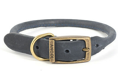 Ancol Timberwolf Round Sewn Blue Leather Dog Collar - All Sizes