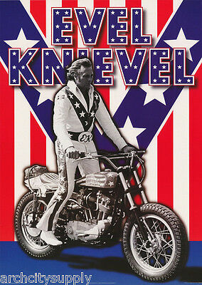 Poster: Evel Knievel On Harley - Patriotic Suit - Free Ship'n - #pf2148   Rc39 M