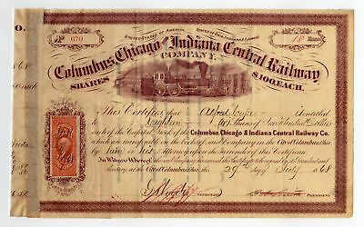 Columbus, Chicago & Indiana Central Railway Stock Certificate