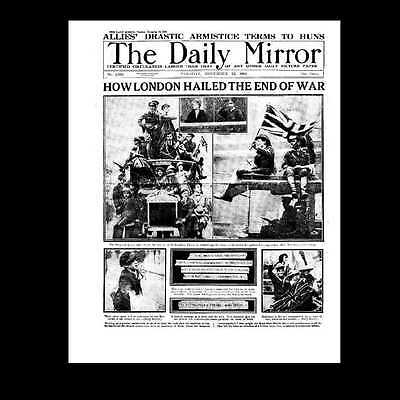 Dollshouse Miniature Newspaper - Daily Mirror 1918 Armistice