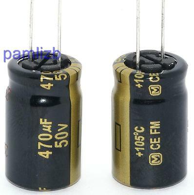 470uF  50v capacitor  Panasonic FM fits Audio Amplifier Hi-Fi  DAC Computer  x 2
