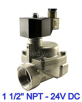 High Pressure Stainless Steel Hot Water Steam Solenoid Valve 1.5 Inch NC 24V DC