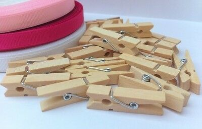 25/50 Mini Wooden Craft Pegs Clothes Paper Photo Hanging Spring Clips 35Mm