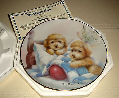 RUANE MANNING Puppy Pals Cocker Spaniels Siblings Playing Ball BEDTIME FUN Plate