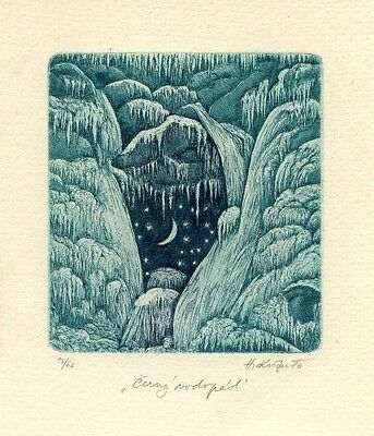 Icy Night, Czech Ex libris Etching by Herbert Kisza