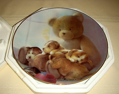 RUANE MANNING Puppy Pals Baby Spaniels Family & Teddy Bear PLEASANT DREAMS Plate