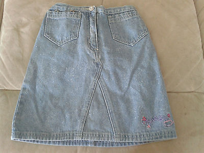 Girls 3-4 Years - Blue Denim Glittery Skirt with Embroidered Logo - Barbie