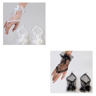 New White or Black Lace Fingerless Gloves with Bows & Diamonte Fashion Party