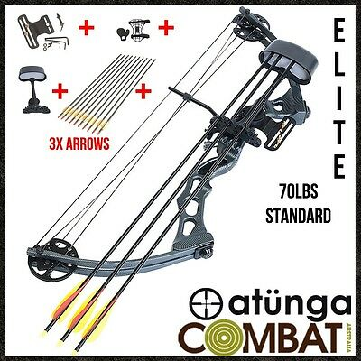 NEW ATUNGA Elite Black 70lbs Compound Bow & Arrow Basic Package Archery Hunting