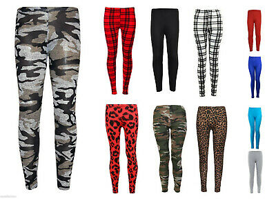 Girls Kids Patterned and Plain Viscose Leggings Pants Camo Print Floral Leopard