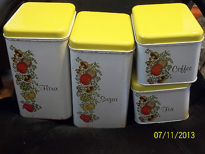 Vintage Retro 4 Pc CHEINCO CHEIN Metal Tin Litho Canisters Spice of Life pattern