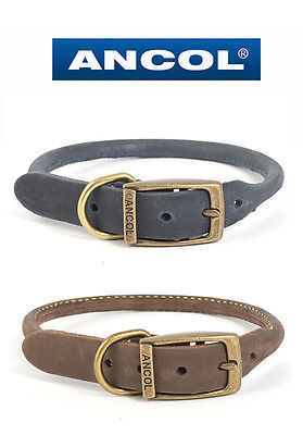 Ancol Timberwolf Round Sewn Leather Dog Collar - Choice of Colours & Sizes