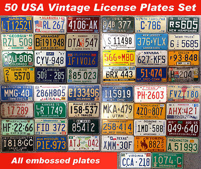 50 UNITED STATES VINTAGE LICENSE PLATE SET NUMBER TAG LOT USA RARE 1960s-90s US