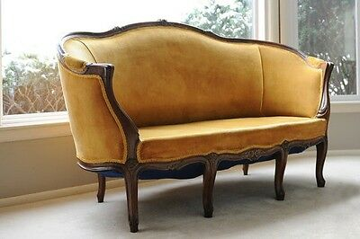 Italian Hand Carved Yellow/gold Velvet Loveseat
