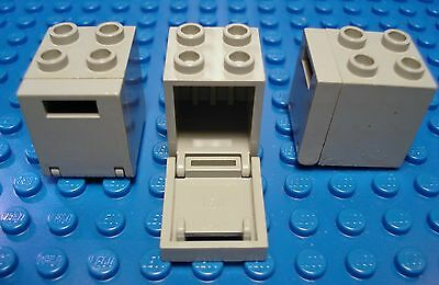 2 X 2 X 2 Containers with Doors   Star Wars LEGOS  Set of 3 Light Gray Boxes
