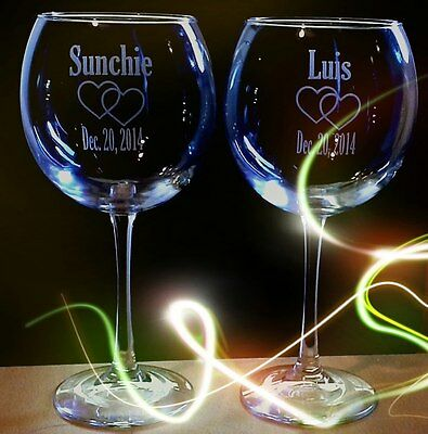 2 Large Red Wine Glass Personalized  Wedding Anniversay Special Occasion