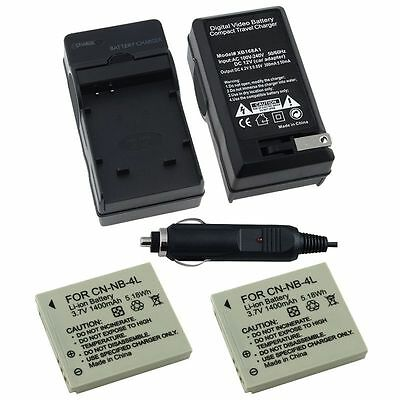 2 x NB-4L Battery + charger for Canon POWERSHOT SD1000