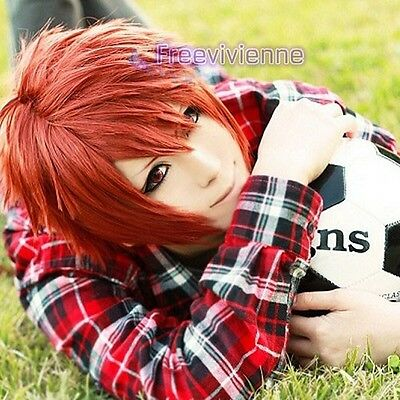 Uta No Prince-Sama Nanami Ittoki Otoya Short Orange Red Cosplay Wig+free wig cap