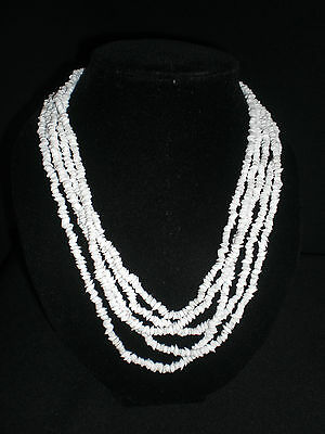 ~ Summer Vintage Five Strand White Glass Necklace ~