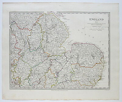 Sduk Map England Norfolk Suffolk Leicestershire Derbyshire 1830 Published 1844