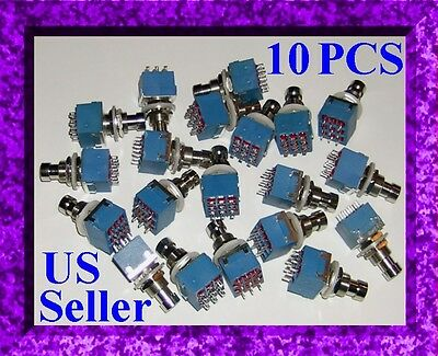 3PDT x 10 PUSHBUTTON SWITCH ~ DIY TRUE BYPASS GUITAR EFFECTS PEDAL ~ HARD CLICK